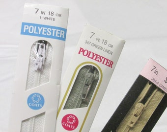 JP Coats Polyester Zippers 7 inches