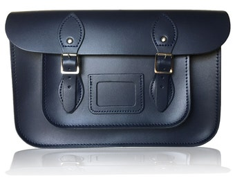 "12.5"" Classic British Leather Satchel 100% Real Leather - Navy Blue"