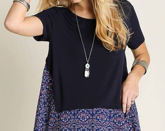 High Low Top with Contrast Print
