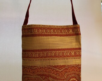 Large Fabric Bag in Rust Color Eastern Pattern