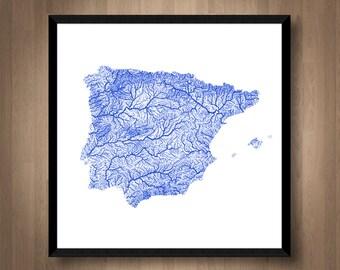 Rivers Of Spain Map Art Printable Portugal Map Print Spain Print Portugal Print