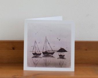 Sunset Boats Greeting Card, blank card, thank you, sympathy, gift, birthday, sea, nautical