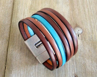 Man/woman brown leather Cuff Bracelet turquoise magnetic 30MM silver plated clasp