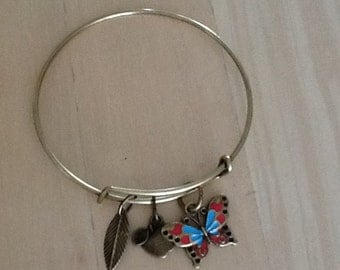 Antique Bronze Bangle, with Three Charms.Beautiful Enameled Butterfly.