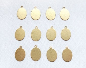 12 Raw Brass Small Oval Tags