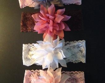 Oaklynn Collection Ballerina Chiffon Flower on Lace Headband 0-Toddler