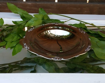 Small Metal Dish with Scalloped Rose Edge