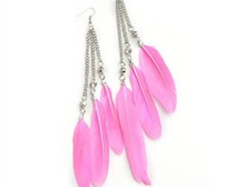 Feather Chain Drop Earrings-REASY TO SHIP!