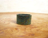 Dark Metallic Green/Teal Beaded Band Ring, Handmade
