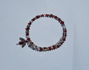 Red and clear Swarovski crystals with sterling silver balls wrap bracelet