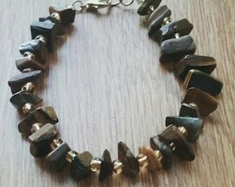 Chunky tiger's eye bracelet, Island inspired semiprecious gemstone bracelet, Tiger's eye bracelet, gemstone bracelet