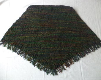 Poncho Gr. 38/40 Virgin wool knitted wool