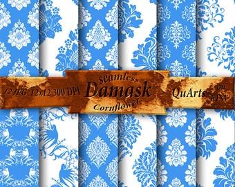 Scrapbooking Paper Cornflower Damask Digital Pack - Printable Backdrops - Instant Download, blue damask pattern, QuartCrafts
