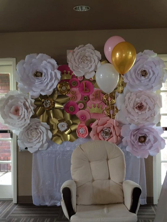 Goldpinkand White Giant Paper Flower Backdrop