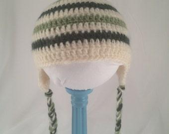 Green Striped Earflap Hat