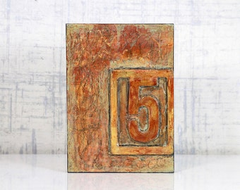 Abstract, Acrylic, Orange, Encaustic Original Painting - Cell Block No.5 by Jackie M Wood