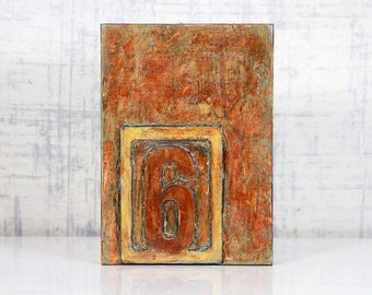 Abstract, Acrylic, Orange, Encaustic Original Painting - Cell Block No.6 by Jackie M Wood