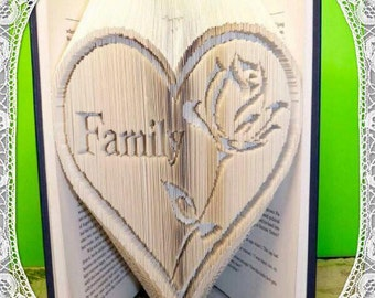 Family in Heart with Rose - book folding art pattern unusual unique family gift