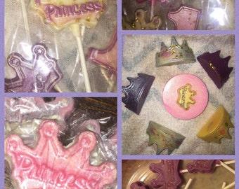 Princess crown chocolate lollipops