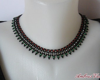 Red, White, Green on the Black background, Bedwork Necklace, Hungarian folk-inspired