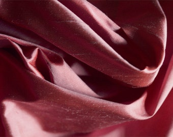 High quality pure silk dupion in deep pink per meter 122cm wide  UK