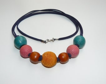 Necklace, handmade, wood and textile, 26 inch.