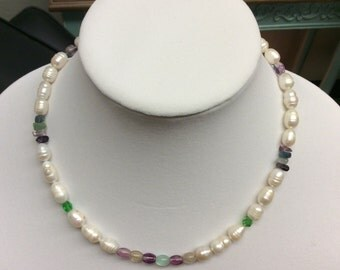 8 mm cultured freshwater pearl necklace with flourite beads