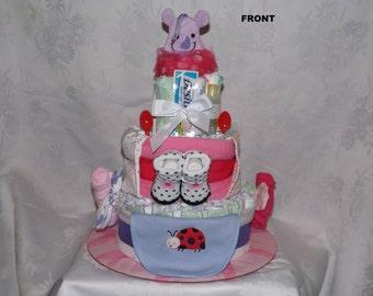 Diaper cake, Baby shower gift, Girl theme, 3 tier