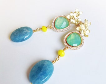 Pendant gildede earrings with turquoise agate