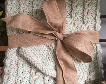 Pale Turquoise and Taupe Blanket and Hat Set