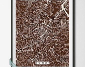 Stuttgart Print, Germany Poster, Stuttgart Poster, Stuttgart Map, Germany Print, Germany Map, Street Map, Room Decor, Dorm Decor