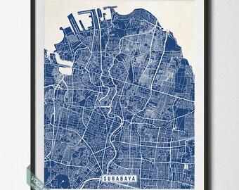 Surabaya Print, Indonesia Poster, Surabaya Map, Indonesia Map, Surabaya Poster, Indonesia Print, Street Map, Christmas Gift
