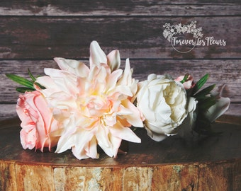 Blushing Beauty Floral Crown: Blush Pink & Ivory Dahlia, Rose, and Ranunculus Flower Crown, Ready To Ship
