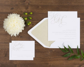 The Peony Wedding Collection by Paper Daisies, Invitation Suite, Monogram, SAMPLE SET