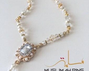 Gold crystal head chain / hair chain