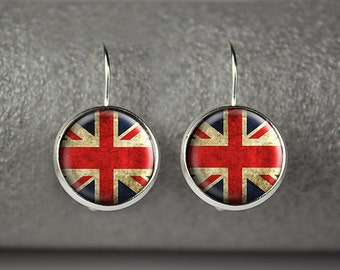 British flag earrings, Union Jack earrings, English flag earrings