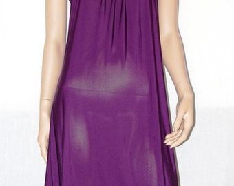 Summer Backless Dress, Midi Purple Dress, Purple Summer Dress, Stretched Halter Dress, Vestito Midi Maglina Elasticizzata Viola Size S