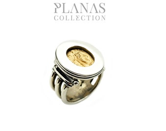 Gold Ring 14 k Yellow and silver .925 Silver #BA - 50V