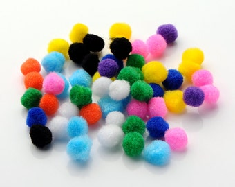 Mixed color loose bobble polyester pom poms UK Stock 10 15 20 25 30 mm or mixed sizes pack kids craft diy