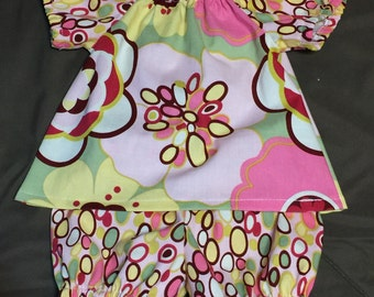 READY TO SHIP 0-3 month Peasant Tunic Top and Ruffle Bloomers Alexander Henry Baby Girl Infant Outfit Set Perfect for Easter
