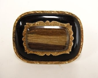 Antique Victorian MOURNING HAIR BROOCH Pin Black Enamel Gold Filled 3 Hair Colors