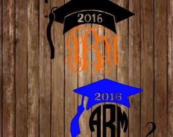 Graduation Cap Monogram Decal-Graduation Cap Decal-Graduation Decal-Monogram Decal-Class OF 2016-Graduation-Graduation Class-Yeti Decal
