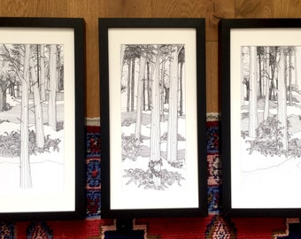 Wall art set, tree pictures, black and white art, Tolkien, Original drawing, pen and ink, tree art, woodland scene, woods, forest