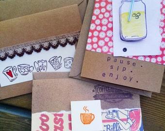 Blank Cards (3 pack or 6 pack)--Coffee and Lemonade Beverages, General Cards