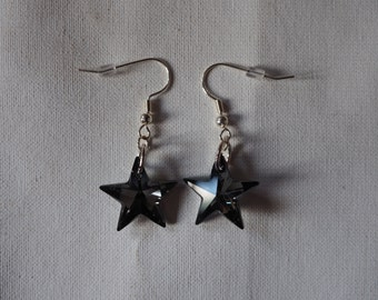silver plated and swarovski crystal star earrings
