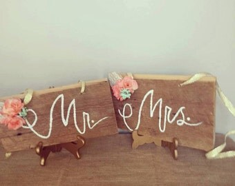 Mr & Mrs Barnwood chair signs