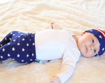 4th of July knot hat, baby knot hat, patriotic knot hat, patriotic baby beanie
