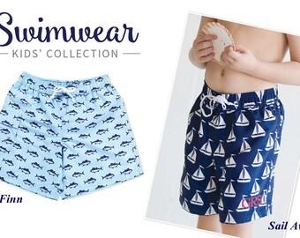 Monogram Boys Swim Trunks, Boys Swim Trunks, Personalized Boys Swim Trunks, Boys Swimwear, Boys Blue Swim Trunks, Gifts for boys