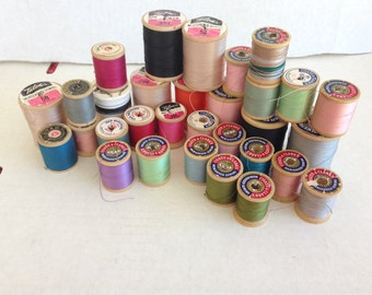 Vintage - Wooden Spools of Thread, One Styrofoam