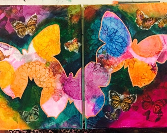 "11"" x 14"" Paintings - Butterflies in the Garden"